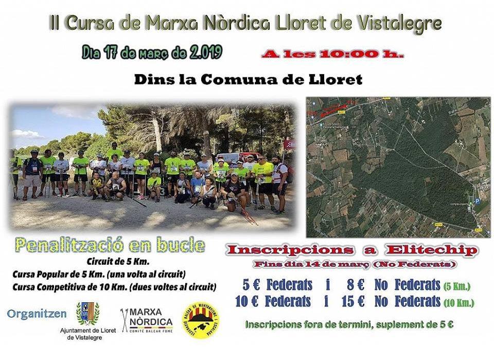 II Cursa Marxa Nòrdica Lloret de Vistalegre 2019. Diumenge, 17 de març, a les 10:00h.