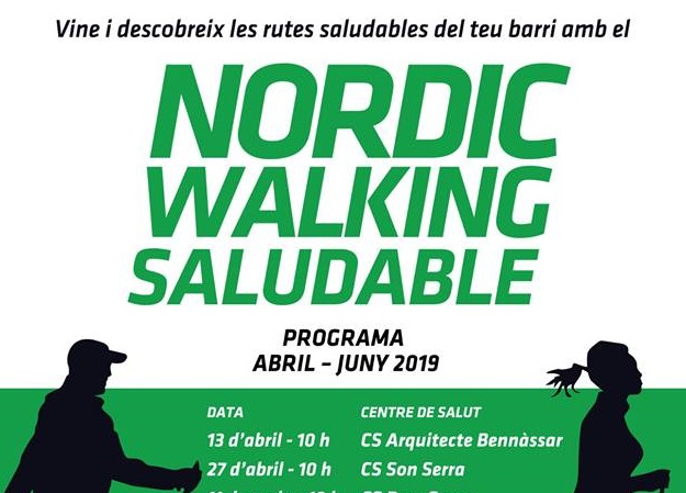Nordic walking saludable al Centre de Salut Rafal Nou. Activitat gratuïta. Dissabte 1 de juny les 10h.